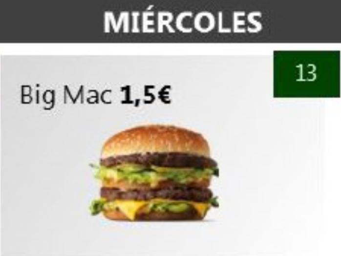 BIGMAC A 1,50€ el 13/06
