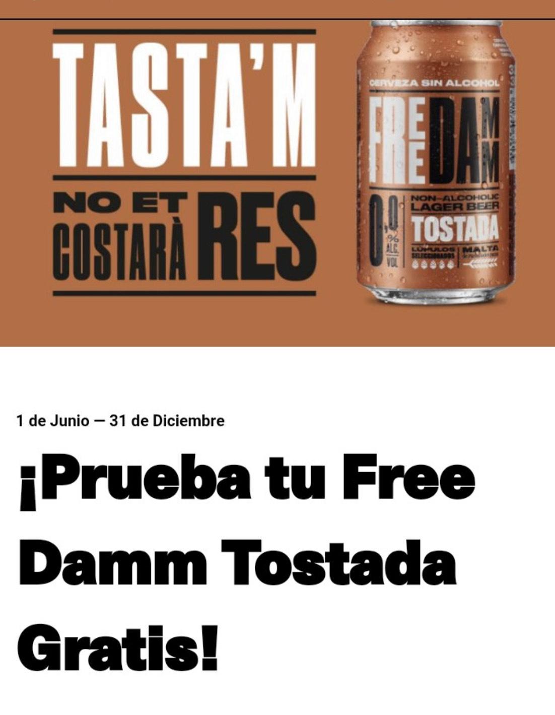 Prueba cerveza Free Damm Tostada Gratis (Reembolso)