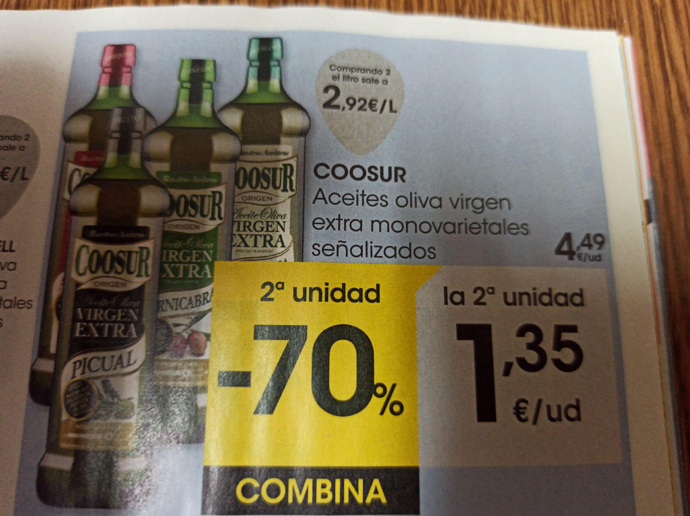 Aceite Virgen Extra Coosur, Segunda unidad al 70% de descuento en Eroski