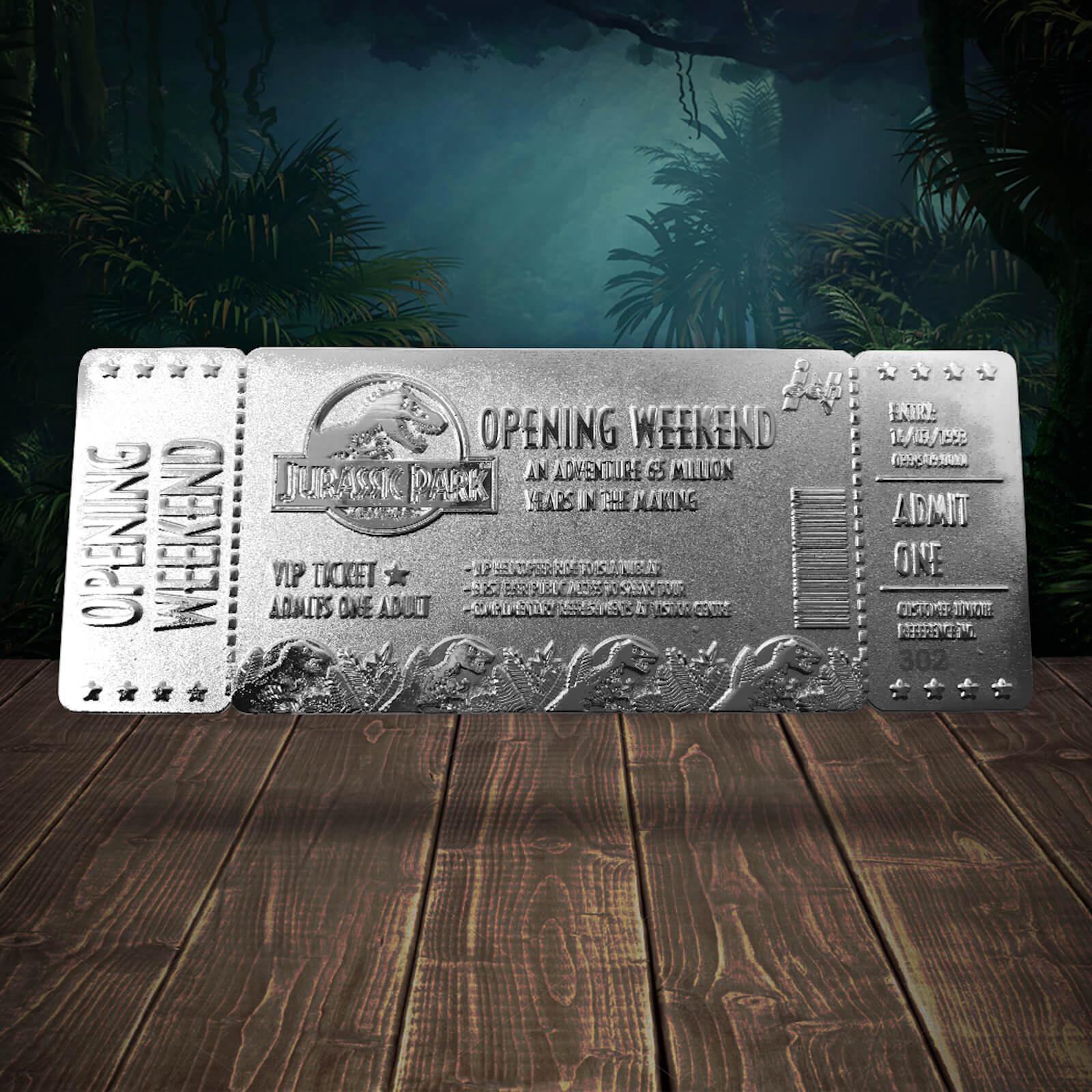Ticket de Entrada Jurassic Park (Bañado en plata) - Edición Limitada