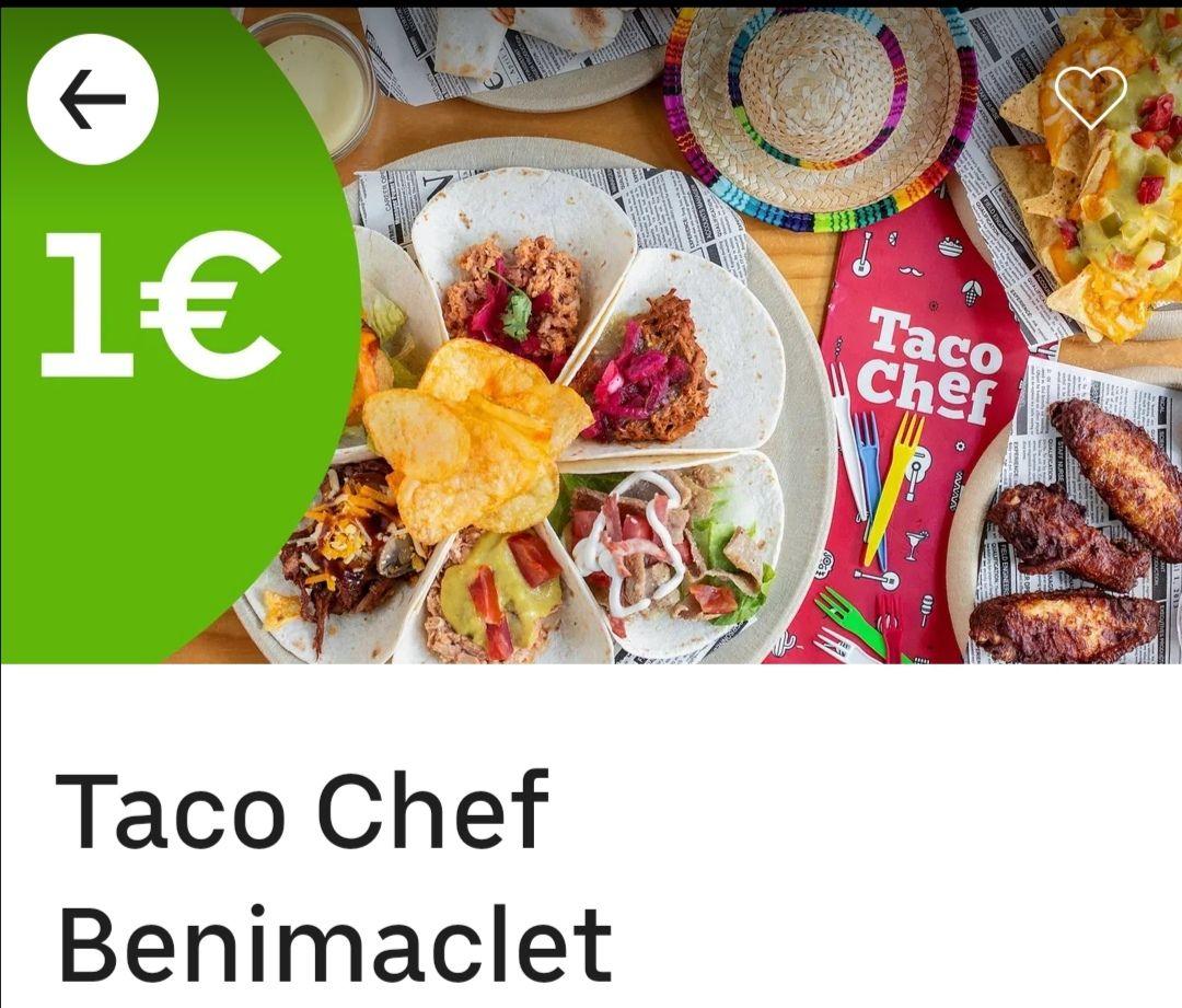 Nachos + 2 tacos a 1€ (Solo Valencia) UBER EATS