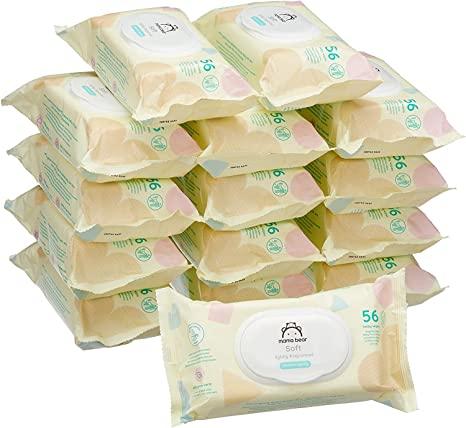 Toallitas Marca Amazon - Mama Bear Soft Toallitas húmedas para bebé - 15 Paquetes (840 Toallitas)