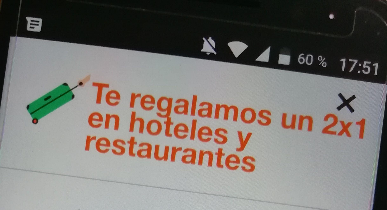 50.000 códigos 2x1 en hoteles y restaurantes (Sólo clientes ORANGE)