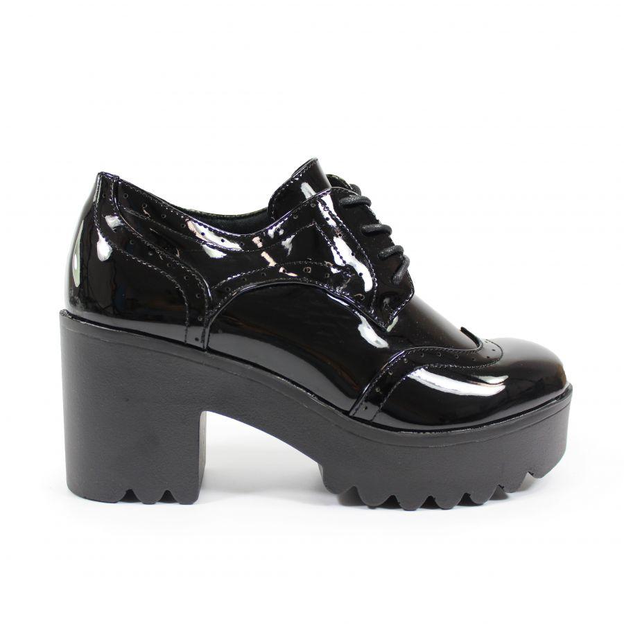 (Tallas 39, 40) Zapato Charol Cordones para mujer