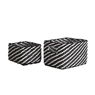 Lote de 2 cestas rayas blancas y negras LEROY MERLIN