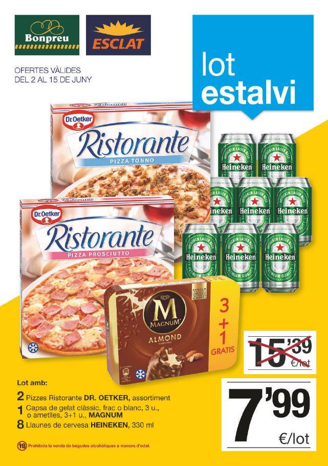 2 pizzas Ristorante + 1 caja Magnum + 8 Heineken