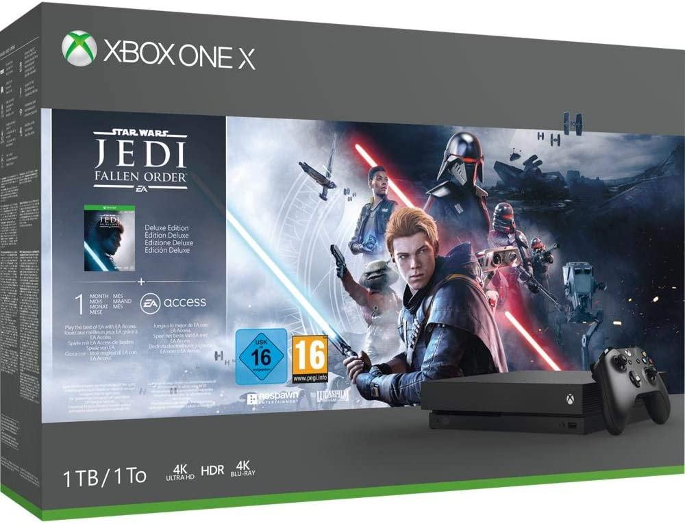 Consola - Microsoft Xbox One X, 1 TB, Negro + Star Wars: Jedi Fallen Order o Gears Of War 5