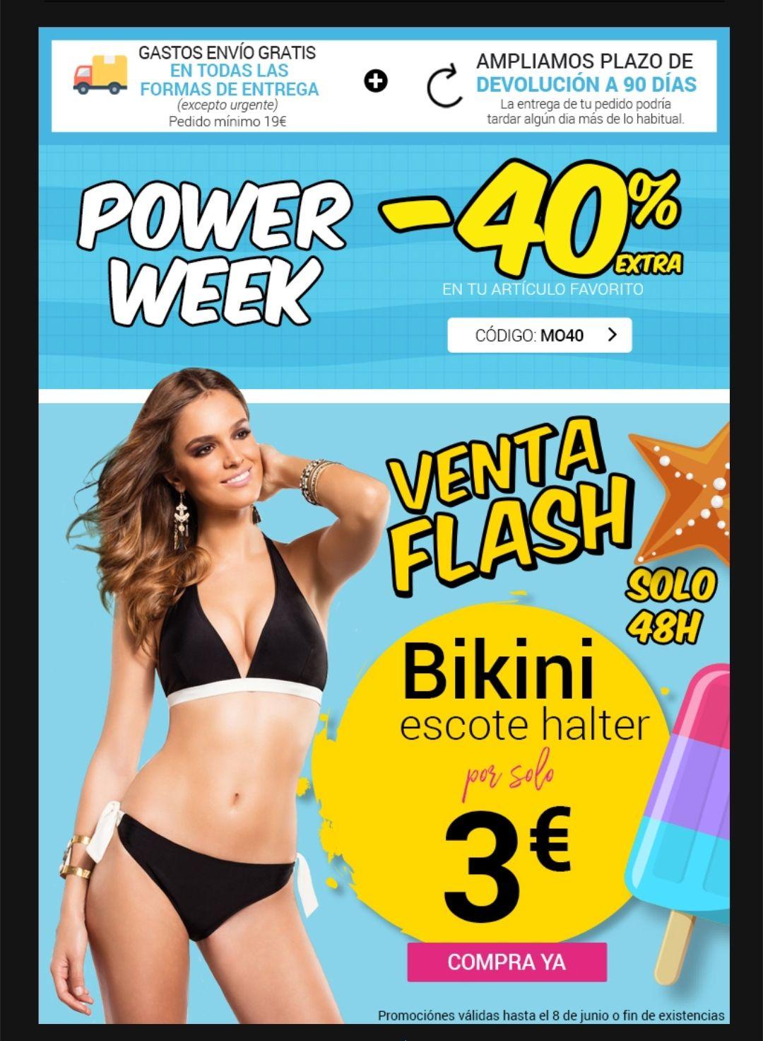 Bikini 3€ y artículo favorito -40%