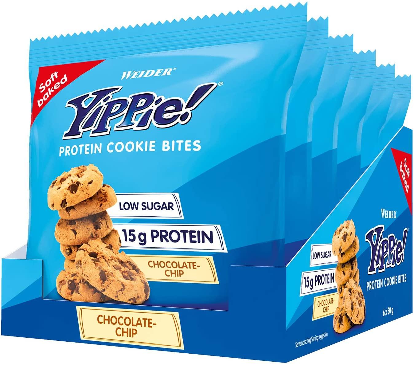 Weider Yippie Cookies. Galletas con Proteína y Chocolate Puro. Sin aceite de palma (6x 50 g). 15 g de proteínas por bolsita. Bajas en azúcar