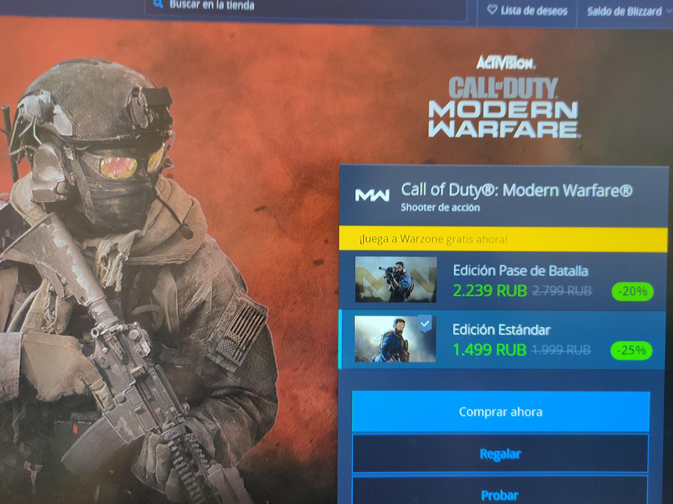 Call of duty modern warfare 2019 @ 20€ (VPN RUSIA)