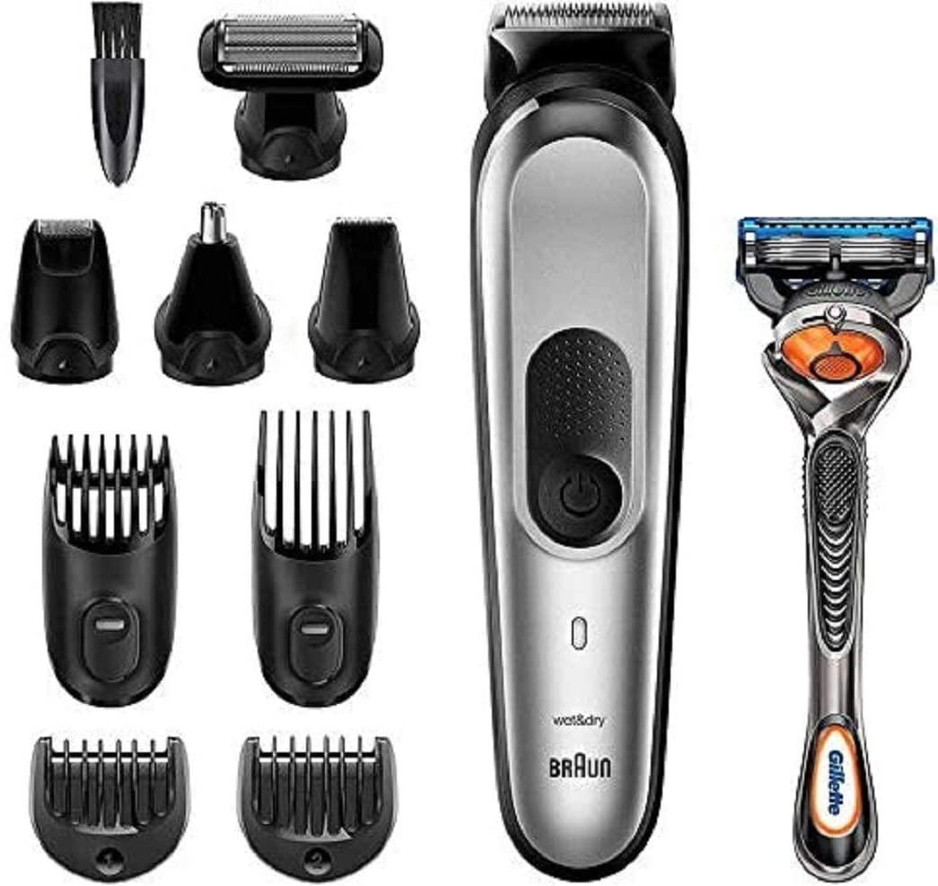 Braun MGK7020 10 en 1, Máquina recortadora barba y cortapelos todo en uno con afeitadora cuerpo, nariz y orejas
