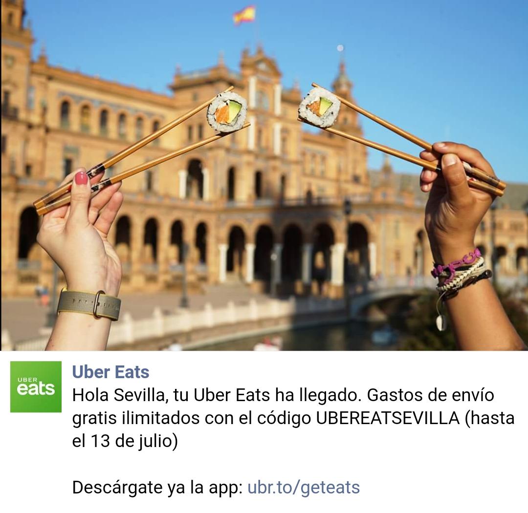 #UberEatsSevilla: gastos de envío GRATIS e ILIMITADOS durante un mes