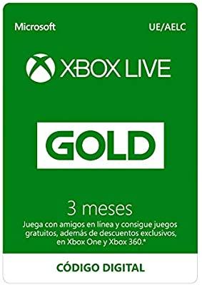 Tarjeta Xbox Live gold de 3 Meses(Xbox)