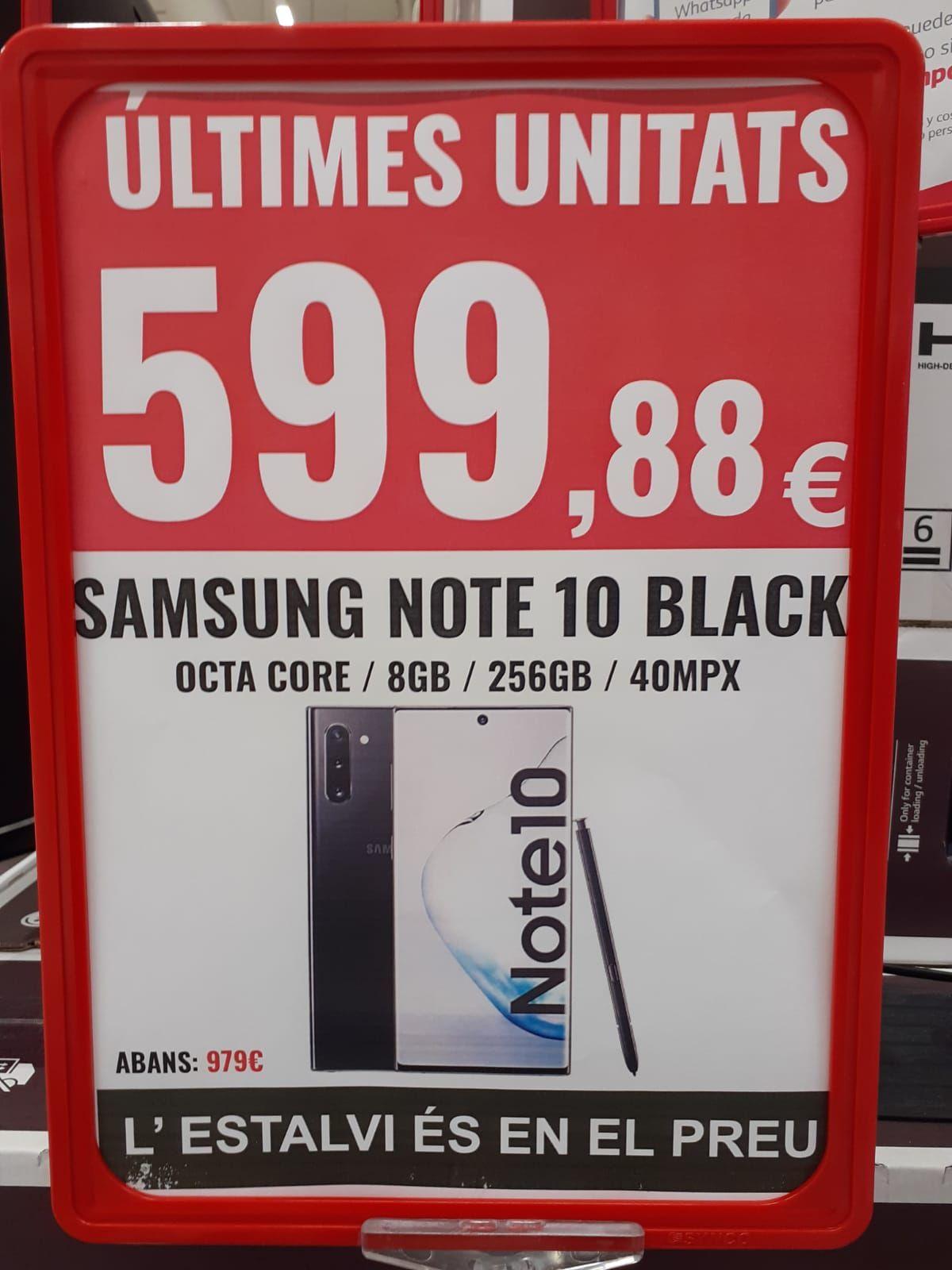 Samsung Galaxy Note 10 negro (Alcampo Mataró)