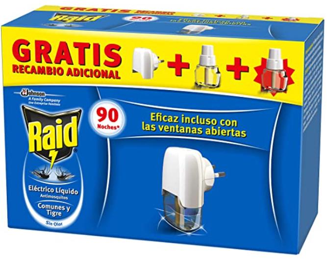 Raid Eléctrico Anti Mosquitos. El pack incluye el aparato y 2 recambios