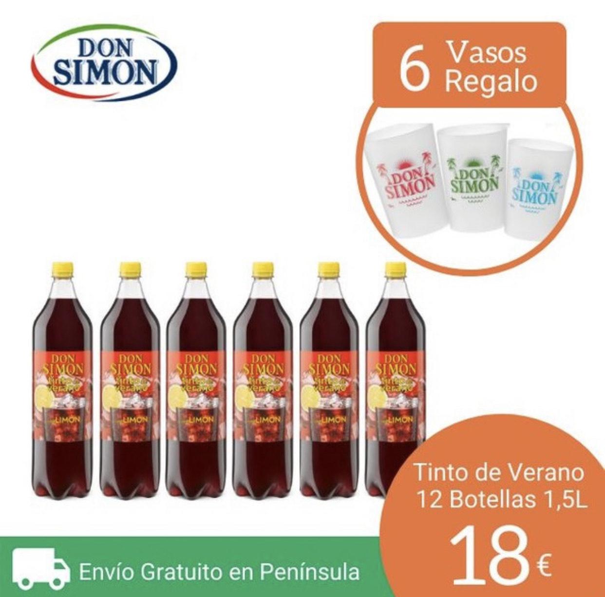 12 botellas de tinto de verano 1,5L + 6 vasos de regalo