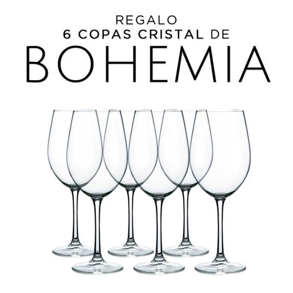 12 botellas de pata negra D.O Ribera del Duero Tempranillo 750ml + 6 copas de cristal de bohemia