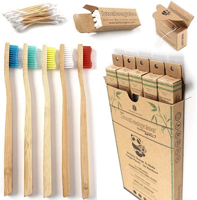 5 cepillos de dientes de bambú + bastoncillos ecológicos y hilo dental GRATIS