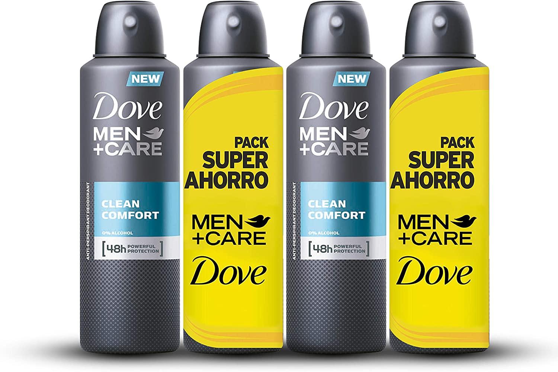 4 unidades Dove - Desodorante Clean Confort Hombre