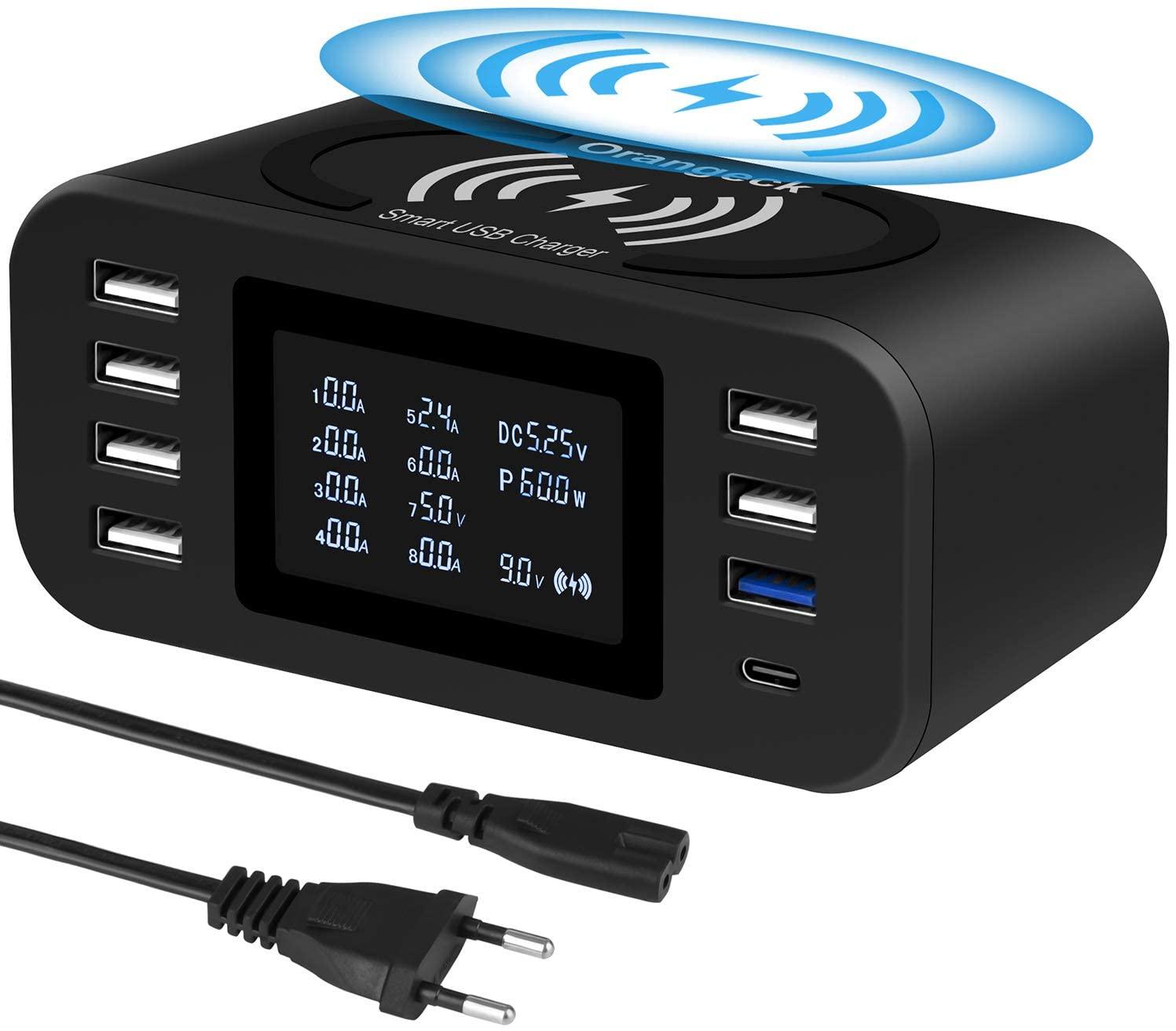 Estación de Carga USB Cargador con 8 Puertos con LDE Pantalla Base de Carga para iPhone Samsungs Huawei y ipads