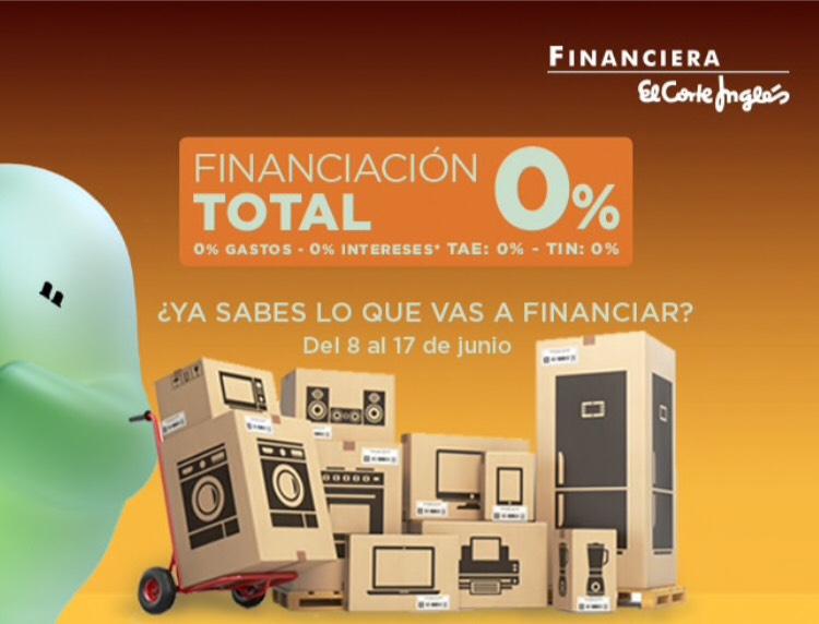 Financiación 0% TIN TAE El Corte Ingles