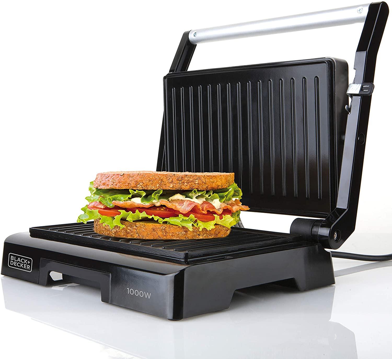 Black+Decker BXGR1000E Sandwichera, 1000 W, Plástico, Negro, Grill