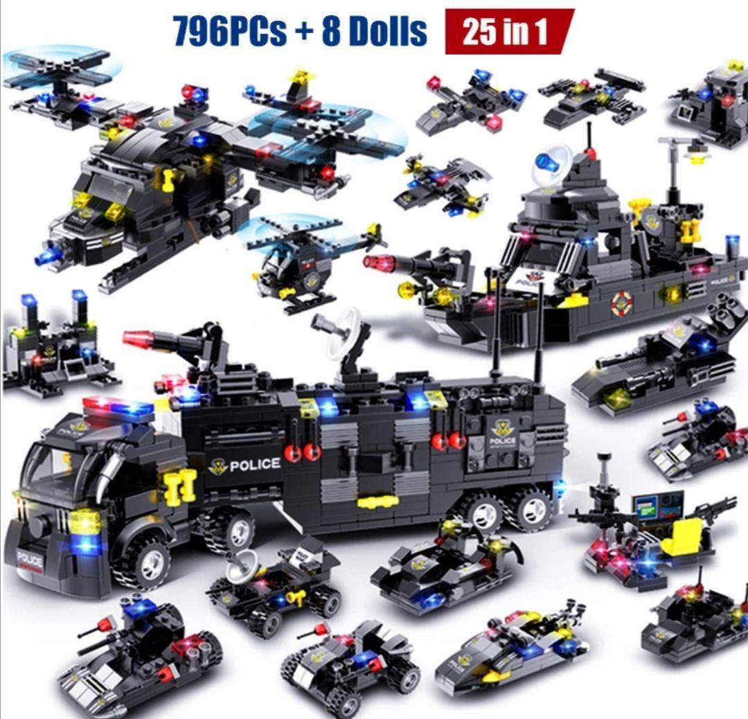 HIPAC 1095 Uds DIY bloques de construcción ciudad estación de policía coche camión casa helicóptero de bloques (710 piezas)