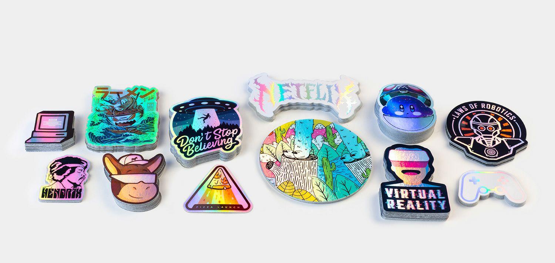 10 pegatinas holograficas personalizadas