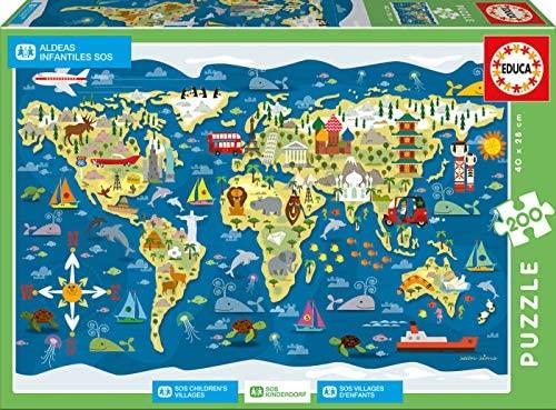 Educa- Mapamundi-Sean Sims Aldeas SOS Puzzle Infantil de 200 Piezas