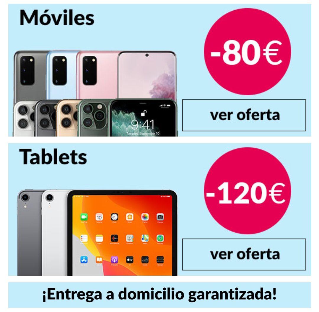 Cupones de descuento directo hasta 120€ en Móviles, Tablets, Macs y Smartwatches + Envío gratis