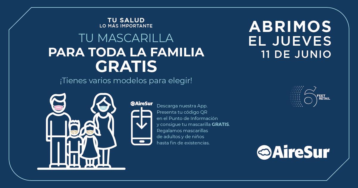 Mascarillas gratis en centro comercial Airesur (Castilleja de la Cuesta)