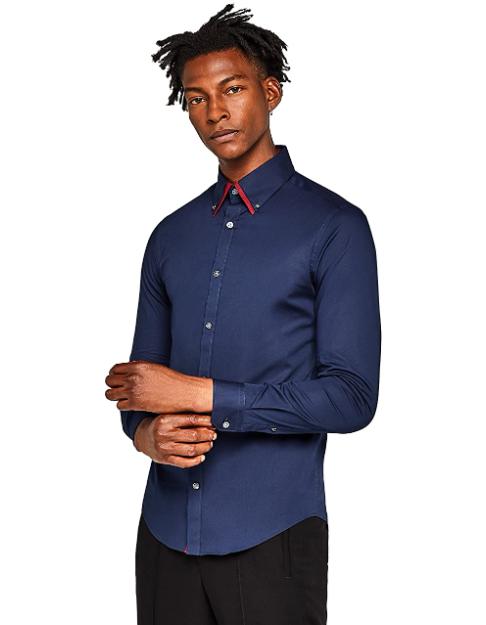 Camisa Oxford con Cuello Doble Hombre T:S