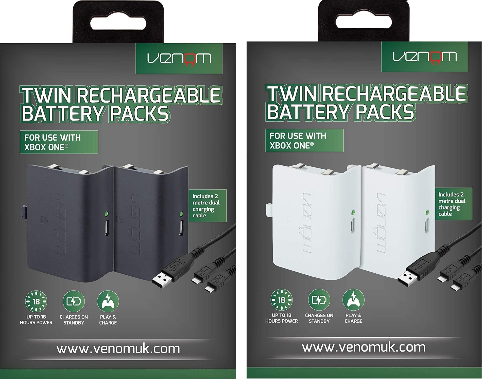 Pack 2 baterías para el mando de Xbox One (Blanco y Negro)