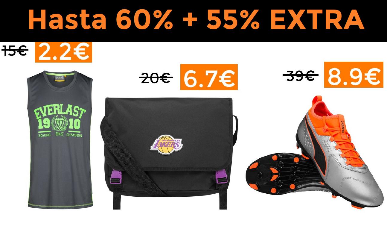 Hasta 60% + 55% EXTRA en selección DEPORTE-OUTLET (66% miembros DEAL CLUB)