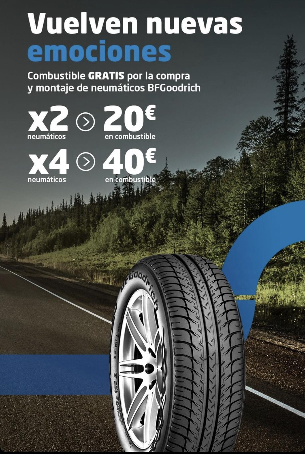 40€ en gasolina al comprar 4 neumáticos
