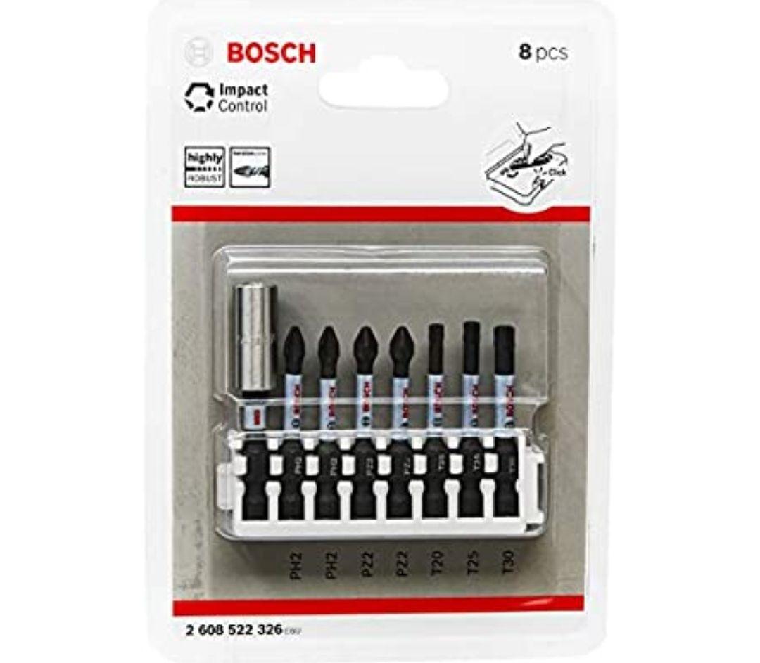 Bosch Professional 8 piezas Juego de puntas de destornillador control de impacto– Longitud: 25 mm,