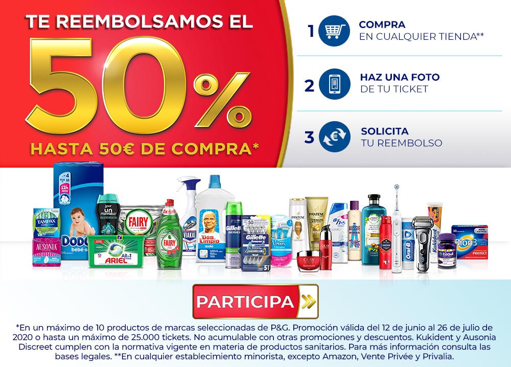 Descuento del 50% en productos de la marca P&G
