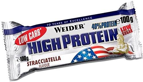 24 barritas x 100 gramos Weider 40% Protein Low Carb Stracciatella
