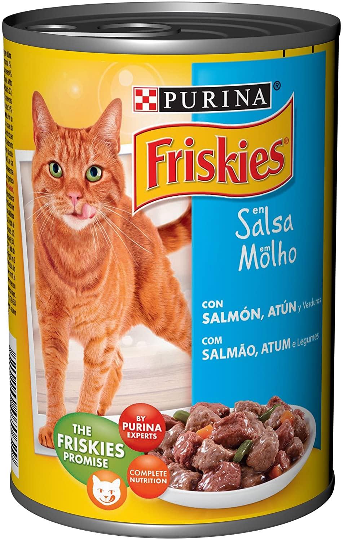 24 x Purina Friskies en Salsa comida para gato Adulto con Salmón y Atún