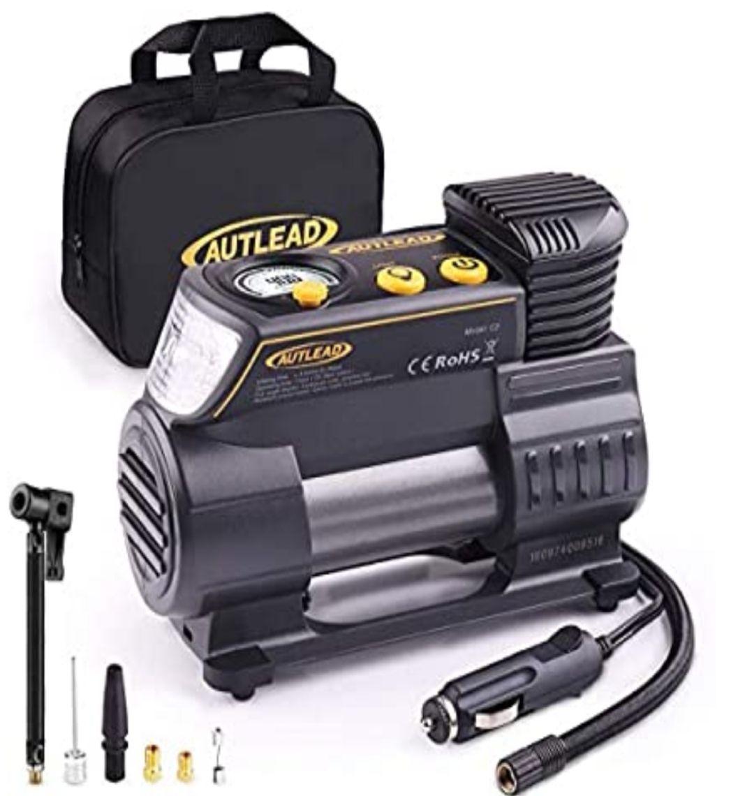 Compresor Aire Coche, 12V,con Conector Rápido y Manómetro Digital, 3 Posiciones Luz, 4 Adaptadores de Válvulas.