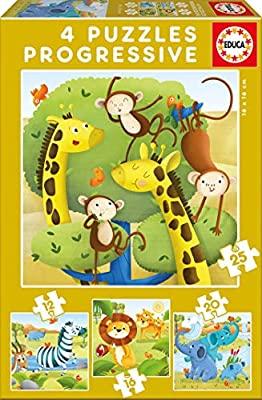 puzzle infantil Animales Salvajes de 12,16,20 y 25 piezas marca educa