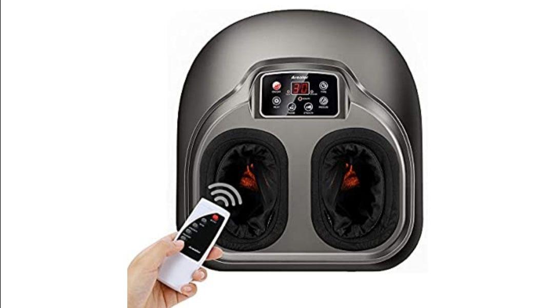 Masajeador de pies Arealer, masaje pies con calefacción y compresión de aire, 5 modos de shiatsu