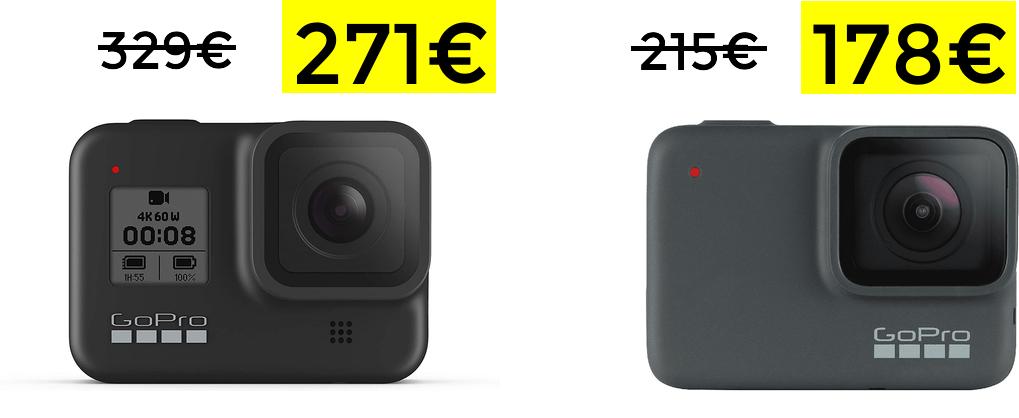 GoPro Hero8 Black 271€ y HERO7 Silver 178€