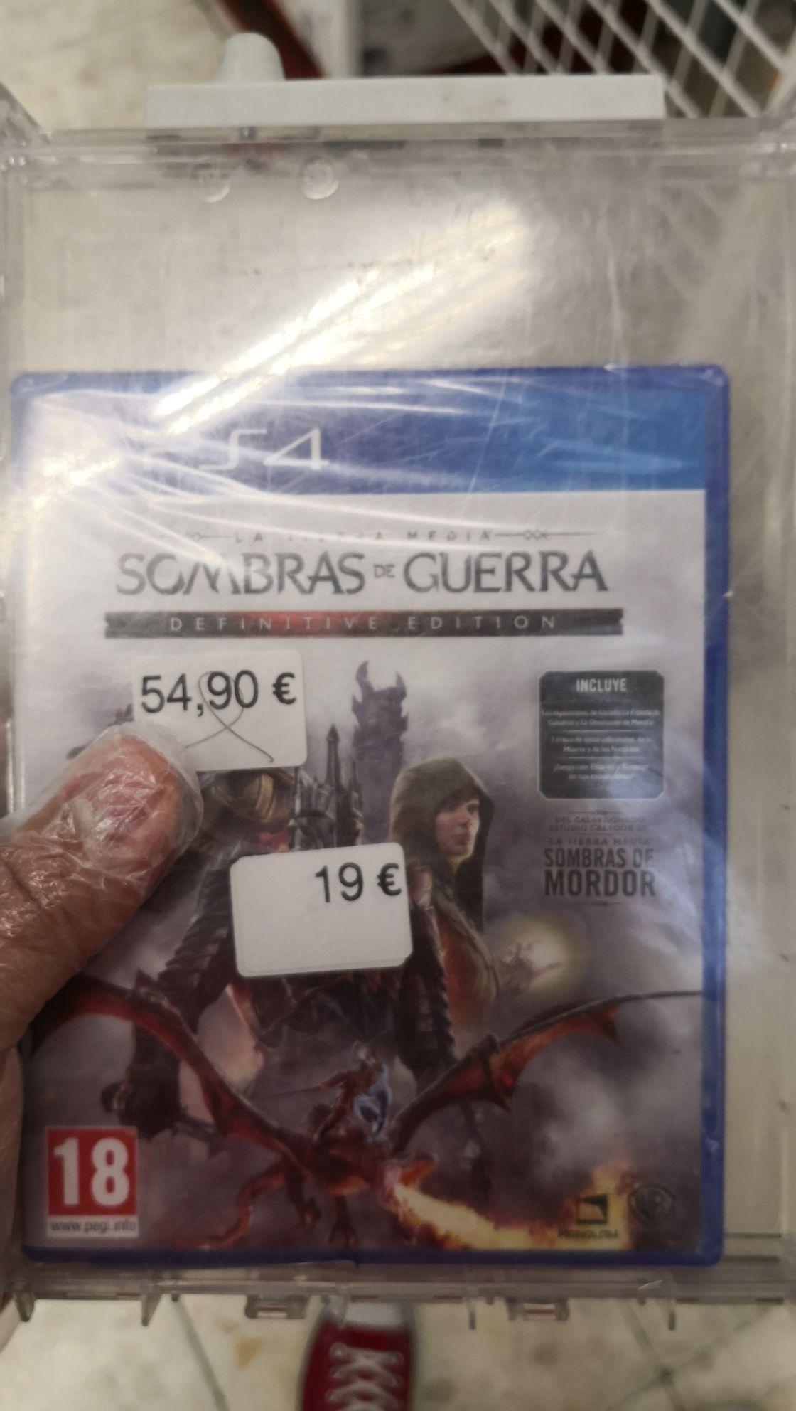 Sombras de guerra GOTY PS4 en Carrefour Zahira (Córdoba)