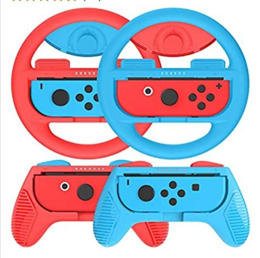 Kit de 4 Grips Para Mando Nintendo Switch Joy-Con,2 Grips y 2 Volante de nintendo switch, Azul / Rojo