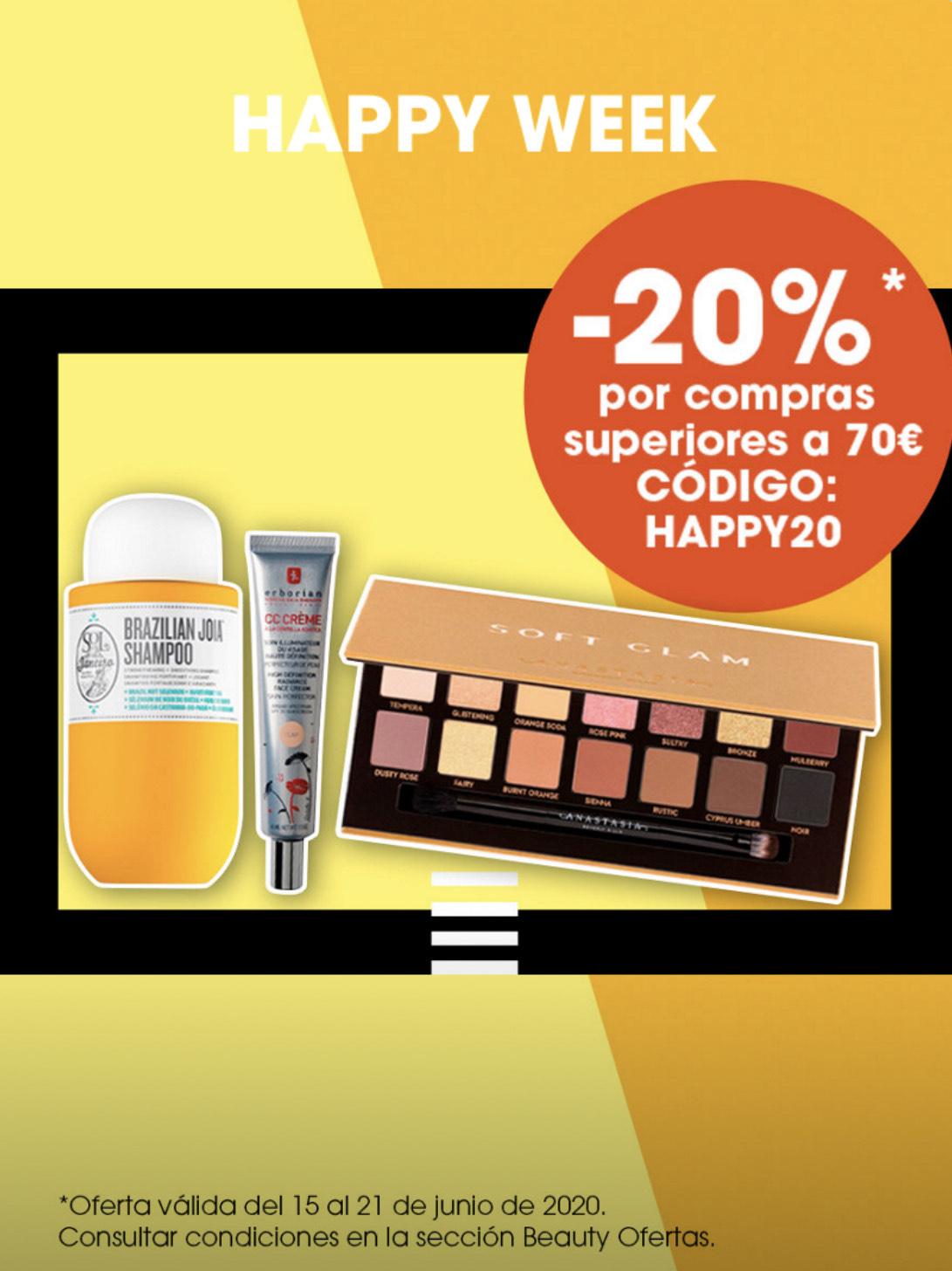 20% para compras superiores a 70€ en Sephora
