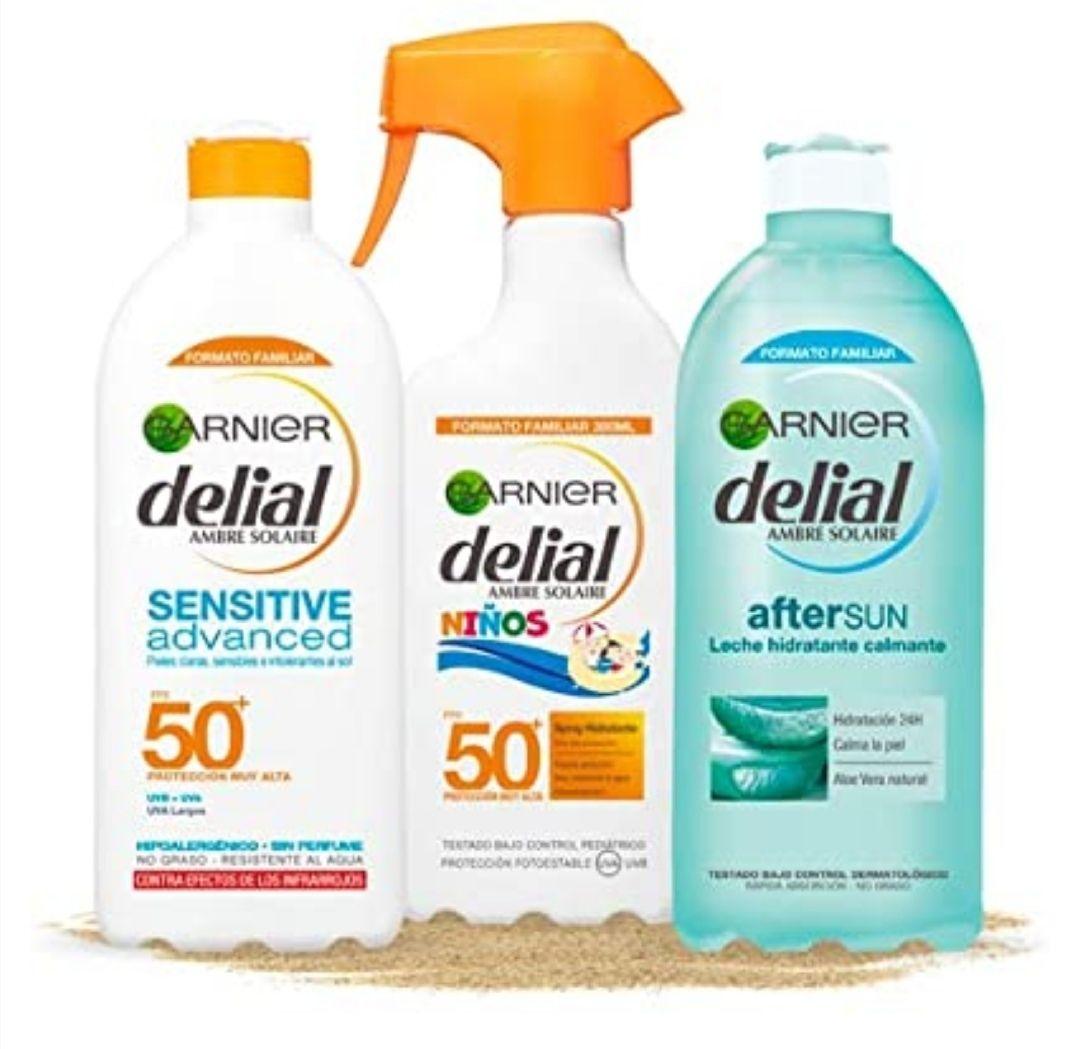 Garnier Delial Kit de Protección Solar, incluye Spray Niños SPF 50+ (300 ml), Leche Solar SPF 50+ (400 ml) y Leche Hidratante Calmante