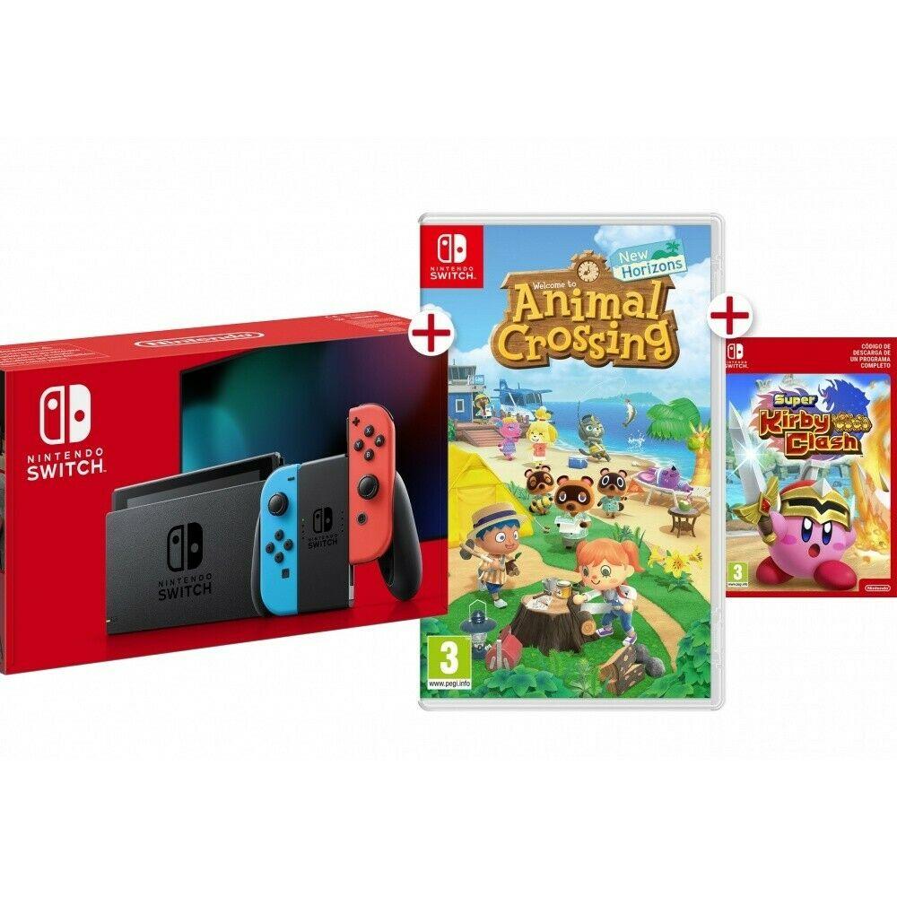 Nintendo Switch V2 + Animal Crossing New Horizons Físico + Código gratis Kirby Clash