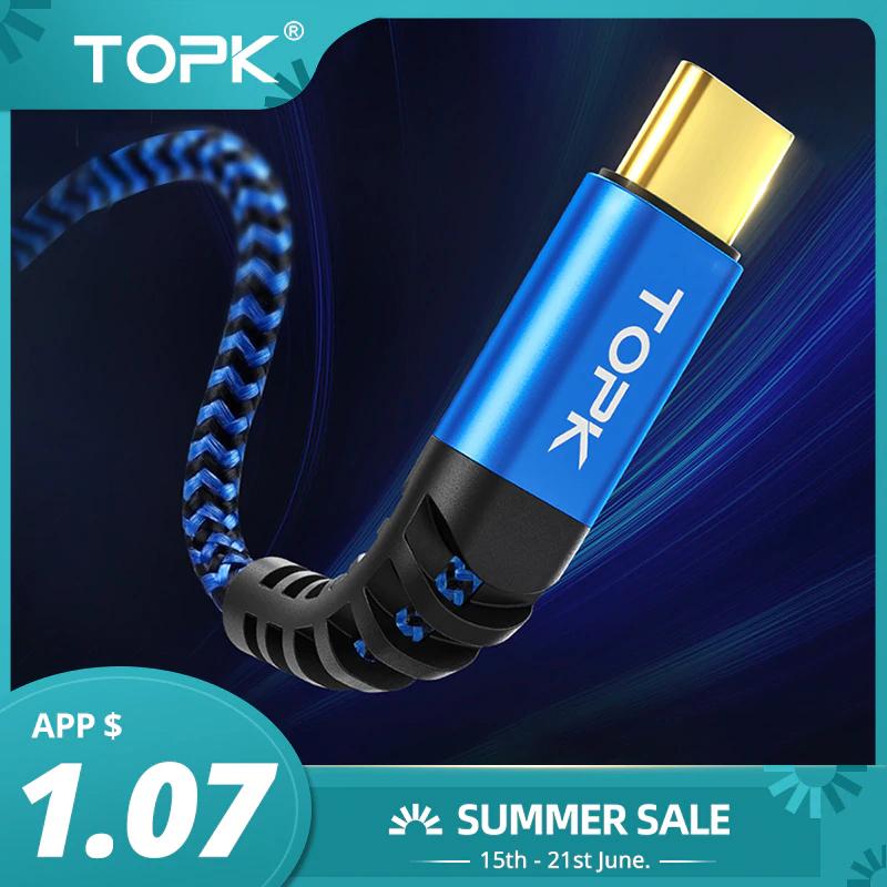 Cable de carga rápida TOPK Micro USB tipo C