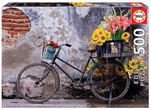 Puzzle 500 piezas bicicleta con flores